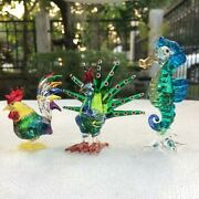 3 Pcs Blown Glass Hand Blowing Figurine Animals Seahorse Peacock And Chicken
