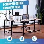 L Shaped Gaming Desk With Monitor Stand And 2 Usb Ports 47x19 66x19 Sides Oak