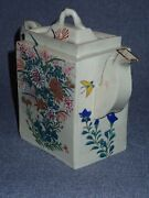 Signed 19th Century Chinese Porcelain Teapot W Lid Hand Painted Flower Butterfly