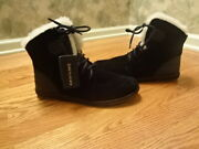 New Emu Australia Lace Up Ankle Boots Black Suede Leather And Sheepskin Sz7-7.5m