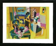Marcel Le Salon 1982 Hand Signed Lithograph With Frame And Coa