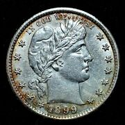 1899-p Barber Quarter ✪ Uncirculated Unc Details ✪ 25c Silver Bu Ms ◢trusted◣