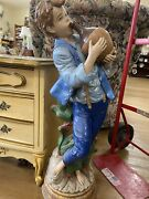 Lot Of 2 Vintage Antique Capodimonte Style Lamp Boy Girl Drinking Pail Figurines