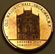Isacc Woodand039s Old Masonic Hall / Three Columns Mule Medal Token Copper Marvin-304