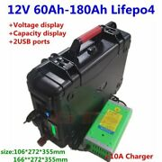 Waterproof Lifepo4 Battery With Bms For Trolling Motor Solar System+10a Charger