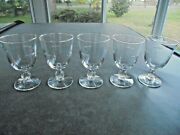 Set Of 5 Libbey Starglow Water Goblets 5 1/2 Tall