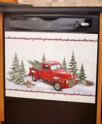 Red Truck Dishwasher Magnet Cover Woods Logs Pickup Evergreen Snow Winter Magnet