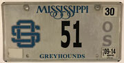 Low 2 Digit Number 51 Greyhounds License Plate Sports Team Dog Bus Racing Track