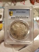 1878 Cc Morgan Silver Dollar Pcgs Ms64 Carson City With Toning And Gold Shield.
