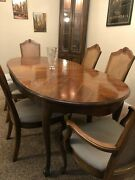 American By Martinsville Queen Anne Cherry Wood Oval Dining Table 6 Chair