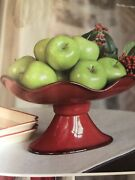 Southern Living At Home Red Cinnabar Footed Oval Fruit/serving Bowl Dish