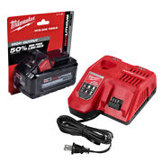 New Milwaukee Rapid Charger 48-59-1808 + 48-11-1880 M18 8.0ah Battery 48-59-1880