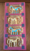 Chicken Creek Folk Art Primative Carved Wooden Box With 4 Horses