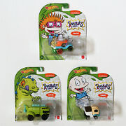 Hot Wheels Rugrats Lot/set Of 3 Die-cast Character Cars Chuckie, Reptar, Tommy