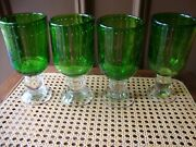 Antique Vtg Green Murano Controlled Bubble Glass Chalice Candle Holder Set