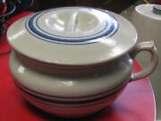 Vintage Red Wing Stoneware Blue Banded Chamber Pot With Lid