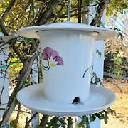 Vintage Hanging Pottery Stoneware Ceramic Large Bird Feeder Floral Hand Painted