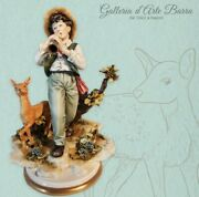 Porcelain Of Capodimonte. Baby With Fawn, Plays In The Woods