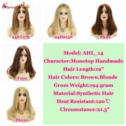 Long Straight Brown Blond Synthetic Lace Front Wig Premium Quality Hairpiece Us