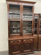 Outstanding Walnut 2 Pc Cupboard Bookcase 1860andrsquos Antique Glazed Glass 8ft
