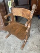 Unusual Chinese Fu Dog Carved Tiger Oak Tub Chair Victorian 1890 Wow