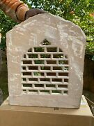 18th C Antique Rare Collectible Carved Stone Jharokha Jali Cut Window Wall Panel