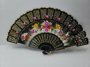 Antique Paper And Bamboo Hand Fan Hand Painted Floral Design Ivx2