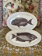 Rare Portmeirion The King Of The Sea 1772 Platters Blue Parrot And Bream Fish 70s
