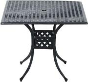 36 X 36 Square Metal Outdoor Patio Bistro Table With Umbrella Hole New