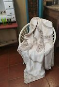 Masterpiece Linen Embroidered Cotton Handmade Bedspread Burano Lace Vintage