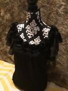Maurices Black Semi Sheer Textured Fabriclinedcowl Neck With Flowerssz S