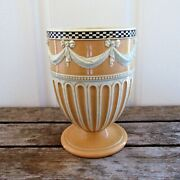 Wedgwood Engine Turned White Stoneware Vase With Swags And Bows Andndash 1778-1785.