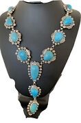 Stunning Native Am Navajo Sterling Silver Kingman Turquoise Lariat Necklace01334