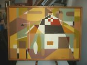 Original Oil Painting By Vernon Wohnhas Cubist Barn And Silo C. 1960and039s