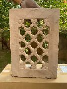 Antique Old Jharokha Collectible Hand Carved Floral Cut Stone Window Wall Panel