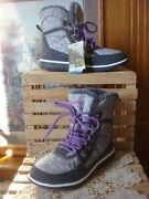 Nwob Bearpaw Ruby Gray Suede And Nylon Print, Wool Sherpa Lined Boots Sz 7m
