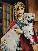 Hand Knotted Pictorial Dog Carpet Girl Tableau Rug Wall Decorative Rug