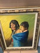 Framed Hopi Indian Oil Painting Mother And Child By Ralph Schwartz 1973 Signed