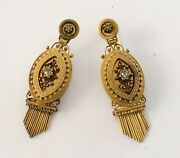 Antique Victorian 14k Drippy Earrings With Rose Cut Diamonds