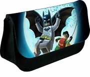 Personalised Lego Batman And Robin Zipped Pencil Makeup Case School Ds Bag