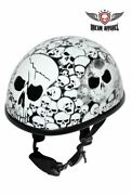 Motorcycle White Eagle Novelty Helmet With Skulls And Chin Strap - Free Ship