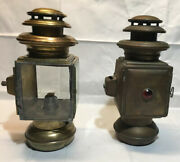 Two Antique Brass Oil Lamps For Auto Or Coach