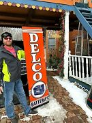 Vintage Gr8 Shape Delco Tire Battery Vertical Sign Gasoline Gas Oil 71x19in