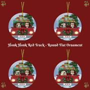 Christmas Honk Honk Red Truck Dogs Cats Round Flat Christmas Tree Ornament