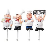 30xpack Of 4 Resin French Chef Figurine Wall Hooks Decorative Cook Wall Mount