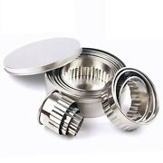 10xstainless Steel Fluted Edge Round Cookie Biscuit Cutter Set 12