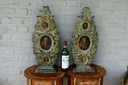 Rare Pair Church Antique 18thc Wood Carved Religious Plaques Panel 3 Painting