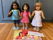 American Girl Chrissa, Gwen, And Sonali 18 Dolls And Books - Display Only