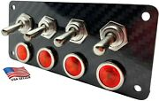 Real Carbon Fiber Panel With 4 Silver Toggle Switches And Red Led Indicators