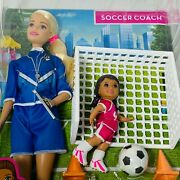 Barbie You Can Be Anything Soccer Coach Playset 2019 Careers 2 Doll Set